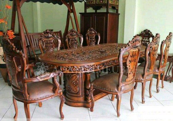 meja makan 8 kursi ukir