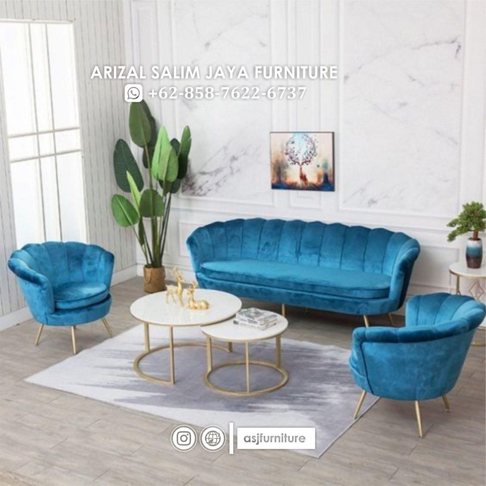 Set Sofa Kerang Meja Marmer Stainless
