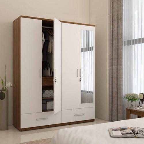 lemari pakaian 4 pintu minimalis